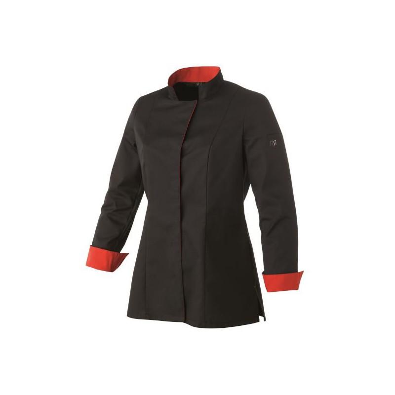 veste de cuisine femme una noir rouge arc distribution. Black Bedroom Furniture Sets. Home Design Ideas
