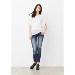 - FLOWY DRAPED SLEEVE DOLMAN TEE T-SHIRT FLUIDE MANCHES COURTES CHAUVE-SOURIS BELLA & CANVAS BE8821