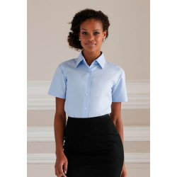 CHEMISE LADIES OXFORD SHIRT CHEMISE OXFORD FEMME MANCHES COURTES RUSSELL COLLECTION RU933F